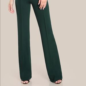Dark Green High Rise Piped Dress Pants |SHEIN